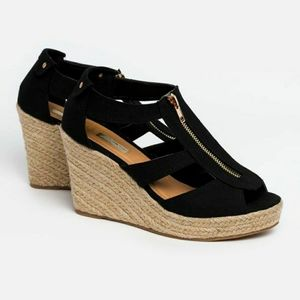 Jute plarform sandals - wedges  heel with zip